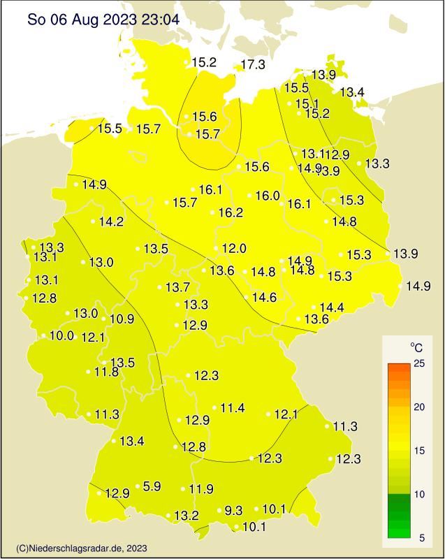 Temperaturkarte Deutschland