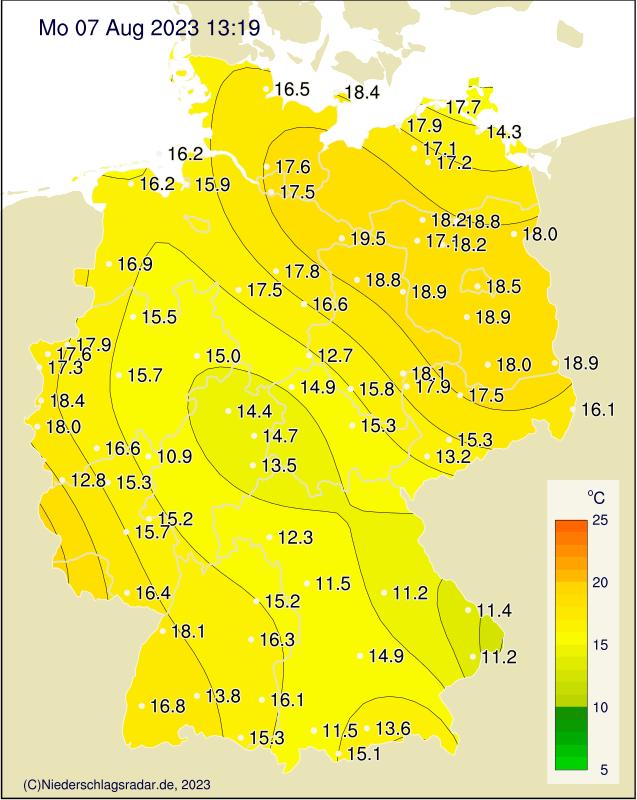 Temeraturkarte Deutschland