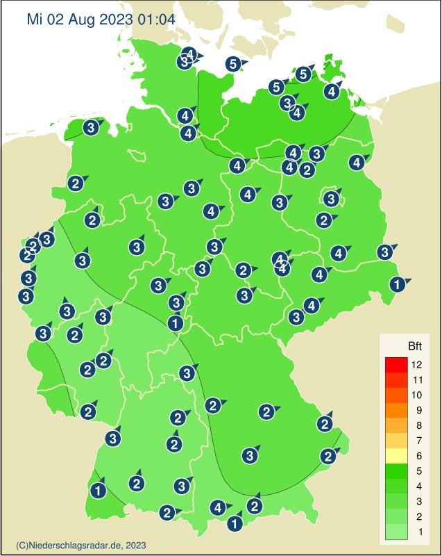 Windstärken in Deutschland