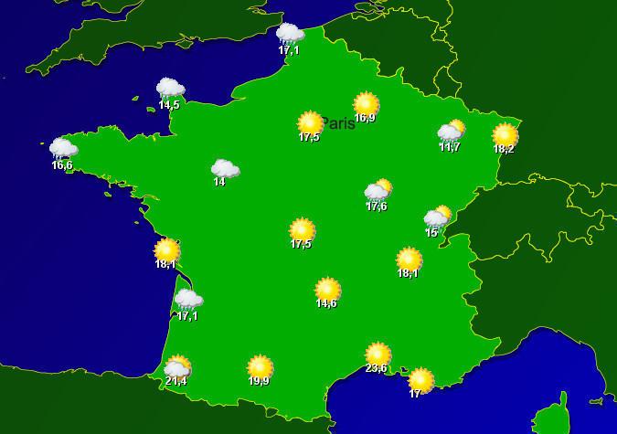 Wetterkarte Frankreich